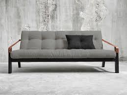 canapé lit futon canapé convertible en bois avec matelas futon et accoudoirs cuir