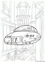coloring page futuristic vehicles