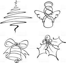 four christmas single line icons stock vector art 158261757 istock
