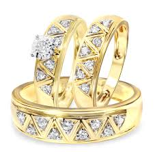 wedding ring trio sets 1 2 carat diamond trio wedding ring set 14k yellow gold