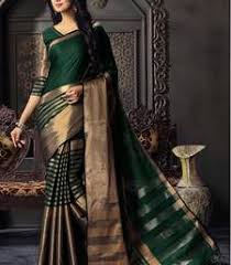Buy Green Plain Cotton Silk Buy Cotton Silk Sarees Online From Designers Across India
