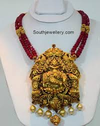 ruby beads necklace images Ruby beads necklace with lord krishna pendant jewellery designs jpg