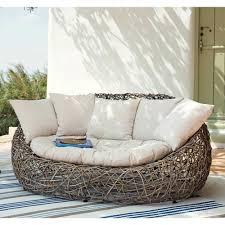 canapé de jardin 2 places canapé de jardin 2 places en rotin kubu et coussins gris