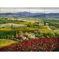ceramic tile murals for kitchen backsplash the tile mural store tuscan poppy 24 in x 18 in ceramic mural