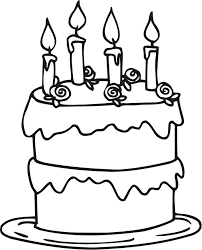 birthday cake coloring pages with four candles coloringstar