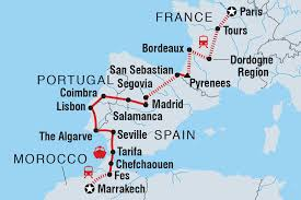 Spain Portugal Map by Paris To Marrakech France Tours Intrepid Travel Au