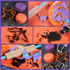 happy halloween cooking baking collage with orange and purple