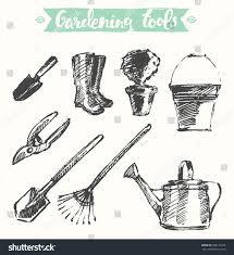 hand drawn gardening tools vector illustration stock vector