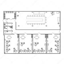 Modern Office Floor Plans by Modern Office Interior With Furniture Vector Floor Plan Blueprint