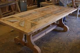Reclaimed Dining Tables Inlay Wood Dining Table Design For Our - Kitchen tables wood