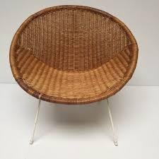 1960s retro rattan wicker satellite chair fauteuil satellite