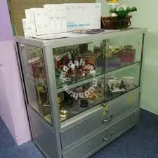Glass Cabinet With Lock 2 Tier With Lock Drawer Glass Cabinet Display Furniture