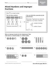 mixed numbers and improper fractions reteach 5th 6th grade