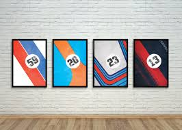 porsche poster set of porsche team liveries garage posters car bone pl