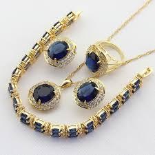 blue stones necklace images Dark blue stones gold color bridal jewelry sets for women drop jpg