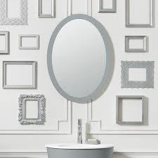 White Framed Oval Bathroom Mirror - 23