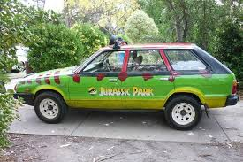 jurassic park tour car subaru wagon turned into jurassic park car