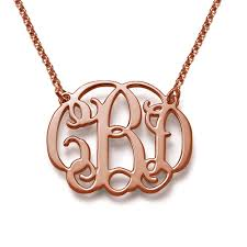 gold monogram monogram necklace in 18k gold plating
