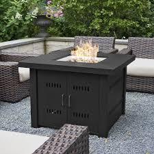 Gas Firepit Table Belleze Metal Propane Pit Table Reviews Wayfair