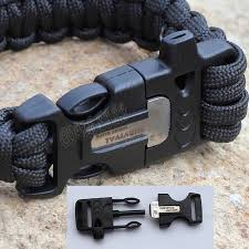 paracord bracelet buckle with whistle images Paracord wrist band buckle including whistle and firestarter jpg