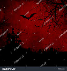 spooky house halloween detailed red grunge halloween background wtih stock illustration
