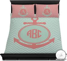Anchor Bedding Set Chevron Anchor Duvet Cover Set Personalized Youcustomizeit