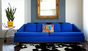 Leather Blue Sofa Furniture Bright Blue Leather Sofa With Decorative