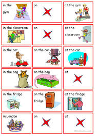 preposition of position to at on worksheet free esl printable