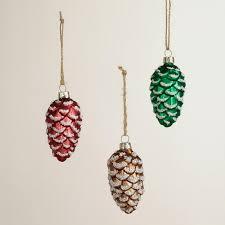 frosty glass pinecone ornaments set of 3 world market