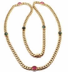long link necklace images Rare authentic bulgari bvlgari 18k yellow gold tourmaline 32 quot long jpg