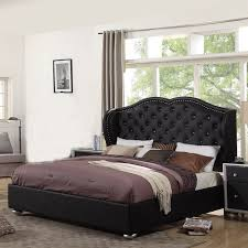 Black Upholstered Headboard Tufting Courtney Black Platform Bed Ufe Diamond With Upholstery