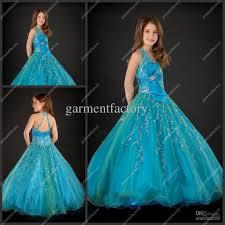 hater ball gown long blue organza little girls evening gowns kids