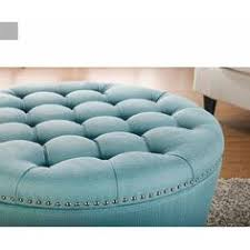 Enchanted Home Storage Ottoman Tufted Large Round Leather Storage Ottoman Furniture Love