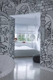 artistic wall mural enriches apartment style in central warsaw modern residence 12
