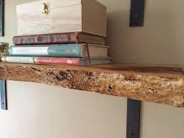 live edge wood slab floating shelf pine rustic industrial mid