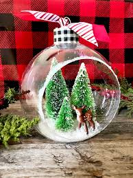 easy handmade ornament bottle brush tree diorama clumsy crafter