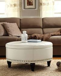 Large Storage Ottoman Furniture Round Leather Ottoman With Shelf Cocktail Coffee Table