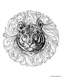 africa tiger leaves framework coloring pages printable