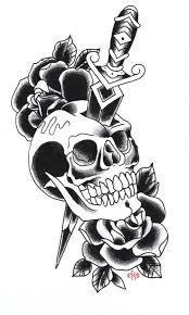 free dagger skull and black roses tattoo designs tattoo ideas
