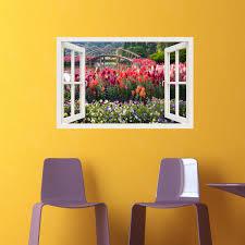 stickers trompe oeil mural sticker muraux trompe l u0027oeil sticker mural jardin fleuri