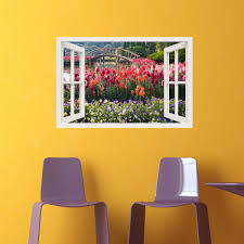 sticker trompe oeil sticker muraux trompe l u0027oeil sticker mural jardin fleuri