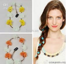 braid hairband headband orange white blue yellow flower braid hairband