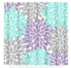 aqua gray shower curtain lavender flower burst custom monogram