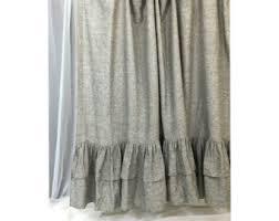 Gray Ruffle Shower Curtain Gray Shower Curtain Etsy