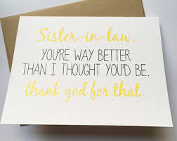 funny birthday card for in law snarky card for sister in law