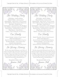 In Memory Of Wedding Program Wedding Program Template Tea Length Program Wedding Program