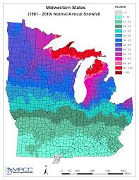 Midwest United States Map by Minnesota Annual Snow Normal 1981 2010 Minnesota Dnr