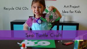 upcycle sea turtle craft made from an old cd youtube