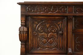 English Oak Sideboard English Tudor 1920 Antique Carved Oak Sideboard Server Or Buffet