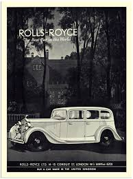 ap1380 rolls royce art deco car advert 1930s 30x40cm art print